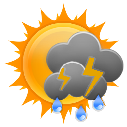 Mostly cloudy morning with scattered showers and a chance of isolated thunderstorms improving during the afternoon